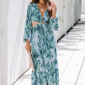 Lei'd Back Palm Print Cutout Maxi Dress